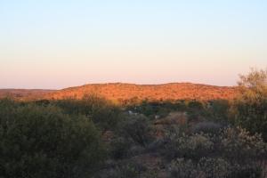 Orange hills near sunset