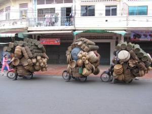 Basket shop on it's way home after a busy day at Central Market, Kampong Cham