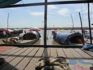 View from the mosque over peoples' homes on the Mekong