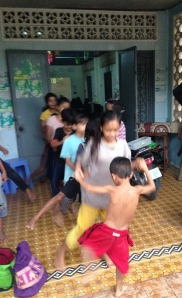 Getting set to dance in the rain during English class