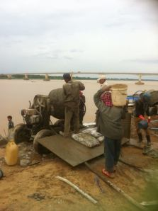 Riverside restorations in action near Kizuna Bridge, Kampong Cham
