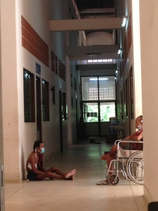 TB patients await their doctor's appointment, Kampong Cham Hospital July 2014
