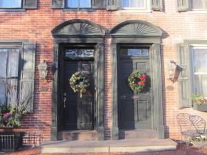 American doorways at Christmas