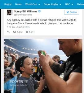 Sonny Bill showing his heart to Syrian refugees last week, and a young fan on Saturday 31 October.