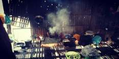 Open fire kitchen in a bamboo shack