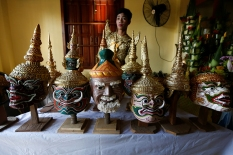 A dancer gets ready before a performance of Lakhon Khol in the Wat Svay Andet costume room we were invited into on Saturday. Photograph from https://www.news18.com/photogallery/world/thailands-masked-dance-drama-khol-now-on-unesco-cultural-heritage-list-1994261-5.html